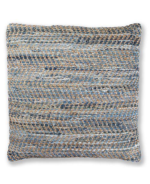 "St. Croix Matador Denim and Hemp Chindi Pillow, 27"" x 27"""