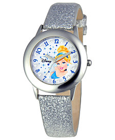 Disney Watch, Kid's Glitz Cinderella Silver Glitter Leather Strap 31mm W000392