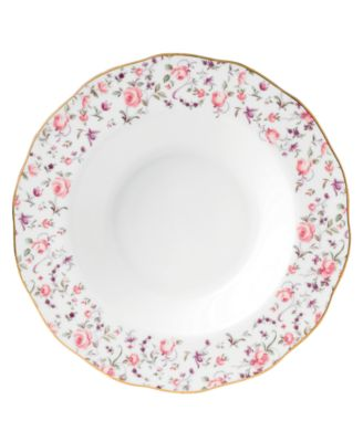 Rose Confetti Rim Soup Bowl
