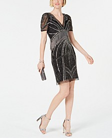 Hand-Beaded Illusion Sheath Dress