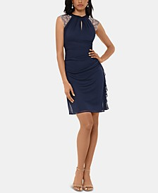 Embellished Cap-Sleeve Sheath Dress
