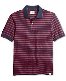 Men's Red Fleece Textured Stripe Polo