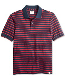 Brooks Brothers Men's Red Fleece Textured Stripe Polo