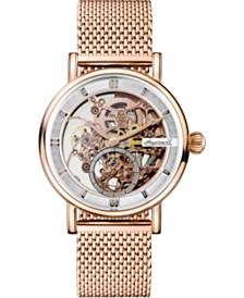 Herald Automatic with Rose Gold IP Stainless Steel Case and Mesh Bracelet with Skeleton Dial