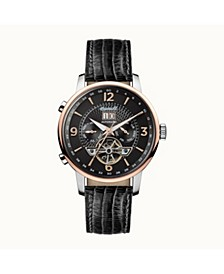 Grafton Automatic with Stainless Steel Case, Black Dial and Black Lizard Embossed Leather Strap