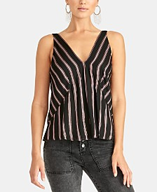 RACHEL Rachel Roy Violene Striped V-Neck Top