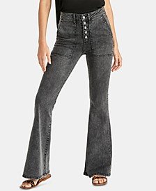 Harp Button-Fly Flare-Leg Jeans