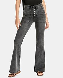 RACHEL Rachel Roy Harp Button-Fly Flare-Leg Jeans