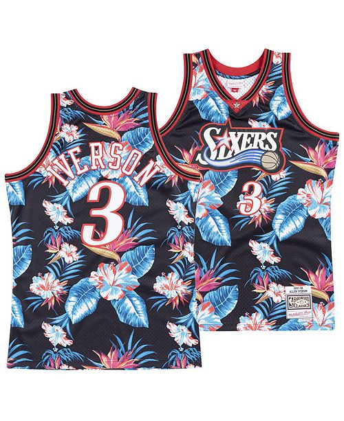 low priced 1b16f bea60 ... Mitchell   Ness Men s Allen Iverson Philadelphia 76ers Floral Swingman  Jersey ...