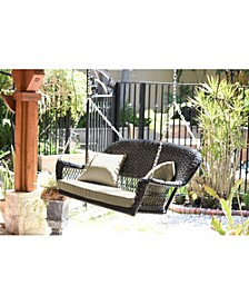 Resin Wicker Porch Swing with Cushion