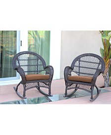 Jeco Wicker Rocker Chair with Cushion - Set of 4
