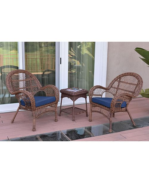 Jeco 3 Piece Santa Maria Wicker Chair Set with Cushion