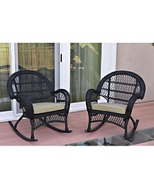 Jeco Santa Maria Wicker Rocker Chair with Cushion - Set of 2 - OVER-MAX