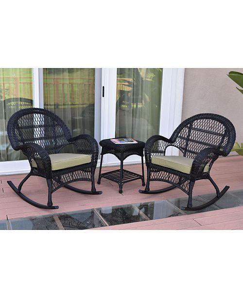 Jeco 3 Piece Santa Maria Rocker Wicker Chair Set with Cushion