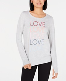 Ideology Love Graphic Long-Sleeve Pullover, Created for Macy's