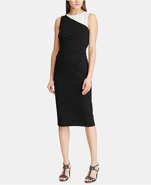 Lauren Ralph Lauren Colorblocked Crepe Jersey Dress