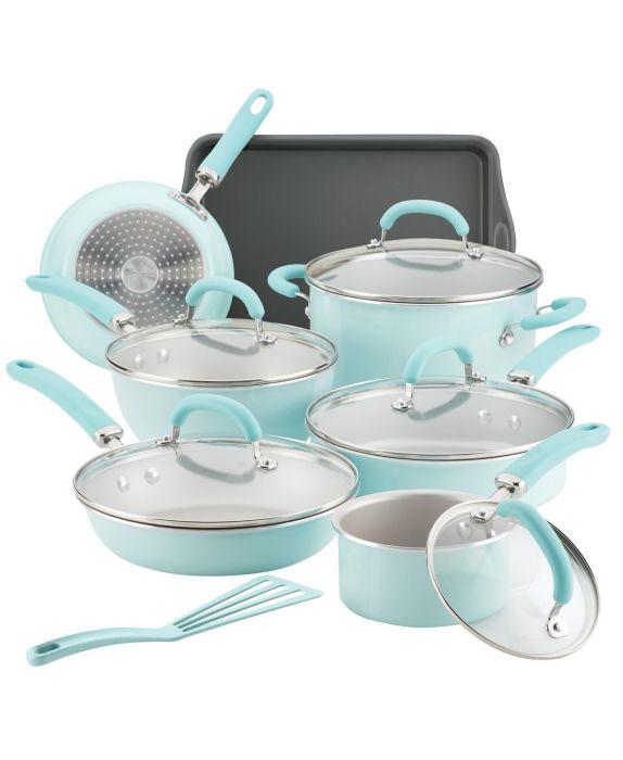 Rachael Ray Create Delicious Aluminum Nonstick 13-Pc. Cookware Set, Blue, Size: 13 PIECES