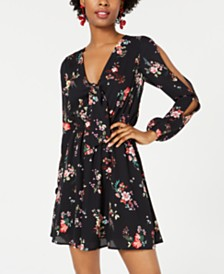 Material Girl Juniors' Printed Split-Sleeve Peasant Dress, Created for Macy's