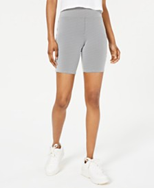 Material Girl Juniors' Pinstriped Biker Shorts, Created for Macy's