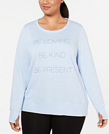 Plus Size Be Loving Graphic Long-Sleeve Top, Created for Macy's