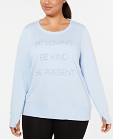 Ideology Plus Size Be Loving Graphic Long-Sleeve Top, Created for Macy's