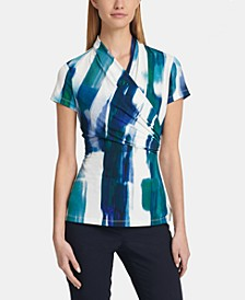 Printed Side-Ruched Top