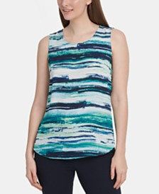 DKNY Striped Sleeveless Top