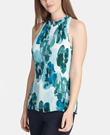 DKNY Floral-Print Pleated Top