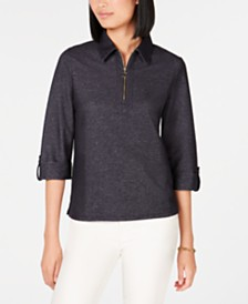 Tommy Hilfiger Zip-Neck Roll-Tab Top, Created for Macy's