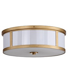 "Avery 2 Light Antique Gold 17""D Drum Flush Mount"