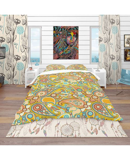 Design Art Designart 'Pattern Paisley' Vintage Duvet Cover Set - Queen