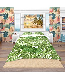 Designart 'Exotic Pattern With Tropical Leaves' Tropical Duvet Cover Set - King