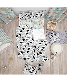 Designart 'Cats Pattern' Modern Teen Duvet Cover Set - Queen