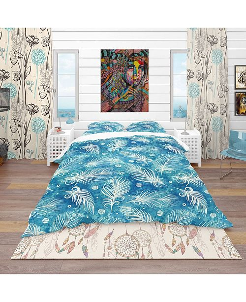 Design Art Designart 'Pattern With Feathers And Circles' Southwestern Duvet Cover Set - King