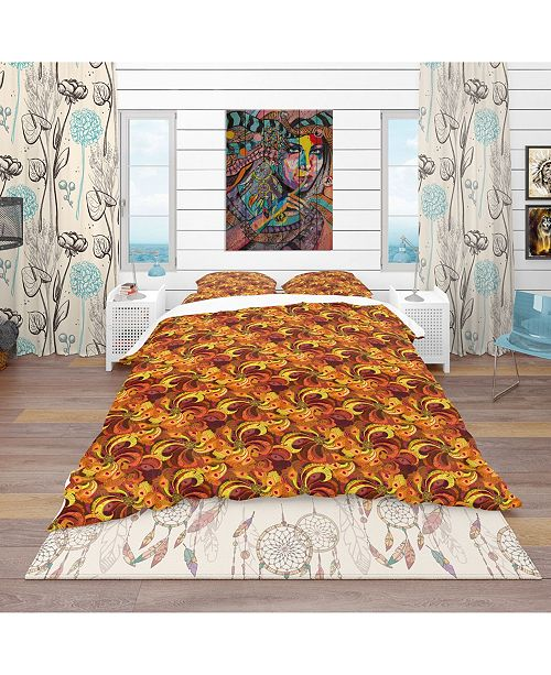 Design Art Designart 'Beautiful Golden Orange and Red Peacock Feathers' Bohemian and Eclectic Duvet Cover Set - Queen