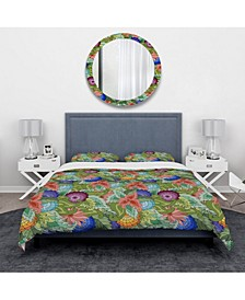 Designart 'Abstract Flowers And Leaves' Traditional Duvet Cover Set - King