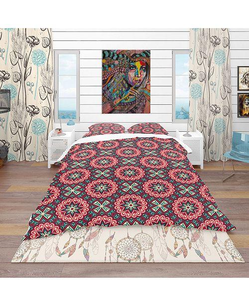 Design Art Designart 'Vintage Decorative Elements' Bohemian and Eclectic Duvet Cover Set - King