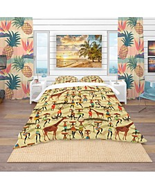 Designart 'Texture With African Women' Tropical Duvet Cover Set