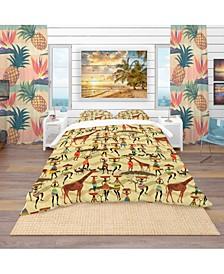 Designart 'Texture With African Women' Tropical Duvet Cover Set