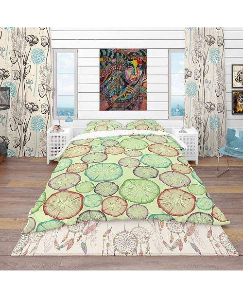 Design Art Designart 'Pattern With Tree Rings' Bohemian and Eclectic Duvet Cover Set - Queen