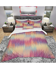 Designart 'Grunge Stripes Pattern In Colors' Modern Duvet Cover Set - Twin
