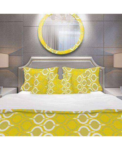 Design Art Designart 'Yellow Pattern' Modern Duvet Cover Set - Queen