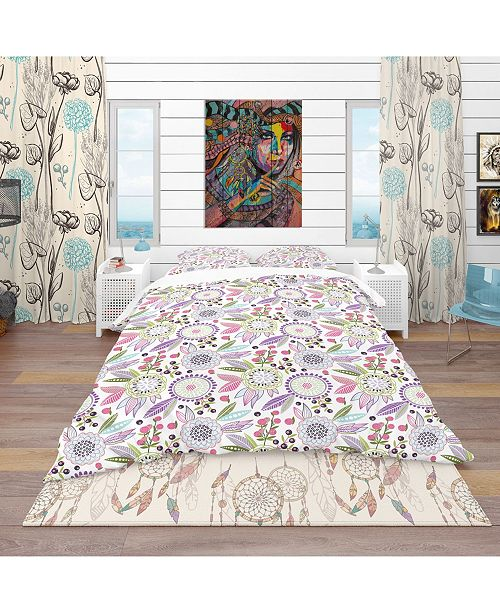 Design Art Designart 'Colorful Floral Pattern' Modern and Contemporary Duvet Cover Set - King