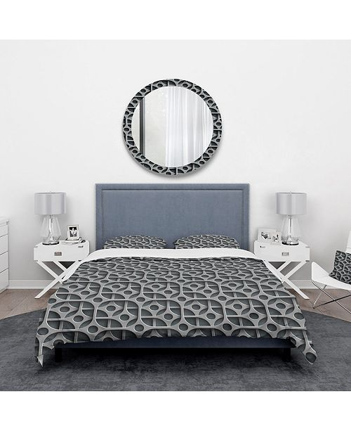 Design Art Designart 'Squares Pattern' Scandinavian Duvet Cover Set - King
