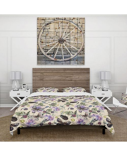 Design Art Designart 'Butterflies And Flowers' Cabin and Lodge Duvet Cover Set - Twin