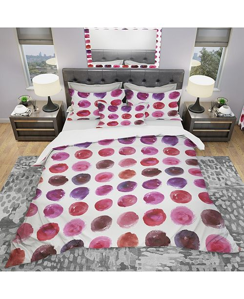 Design Art Designart 'Pattern With Watercolor Spots' Modern and Contemporary Duvet Cover Set - Twin