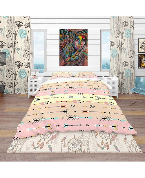 Design Art Designart 'Tribal Arrows Boho Pattern' Southwestern Duvet Cover Set - Twin