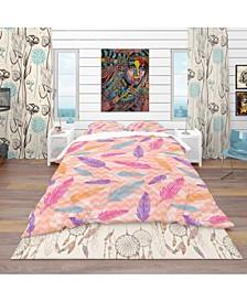Designart 'Colorful Feathers Pattern' Southwestern Duvet Cover Set - Twin