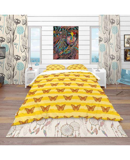 Design Art Designart 'Pattern Of Butterflies' Modern and Contemporary Duvet Cover Set - Twin