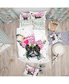 Designart 'French Bulldog With Pink Hat' Modern and Contemporary Duvet Cover Set - Queen